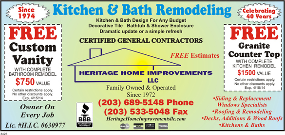 Norwalk Ct Bathroom Remodeling Contractor HERITAGE HOME IMPROVEMENTS - Bathroom remodeling norwalk ct
